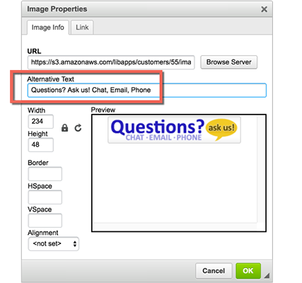Screenshot demonstrating where to add alt text to images in LibGuides
