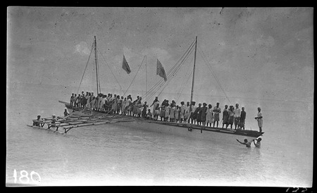 Kiribati canoe that has just been launched, 78 feet long.