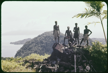 Men posing on top of a pile