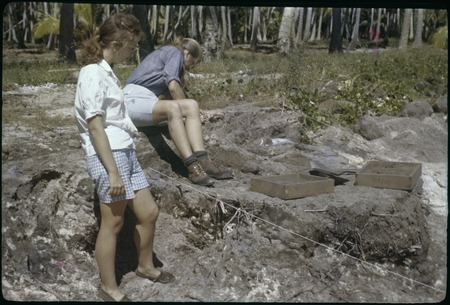 Moorea archaeological excavation, Phillips site: Ann Rappaport and Kaye Green at work
