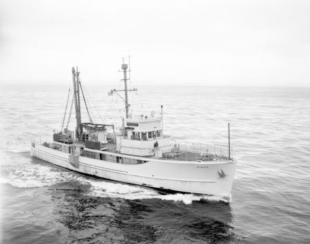 """Aerial, CREST, 1949"" [Original prints labelled, ""Crest of Scripps Institution, one of the first ships designed for CalCOF..."