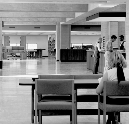 The interior of the Central University Library on the campus of UCSD. December 29, 1970.