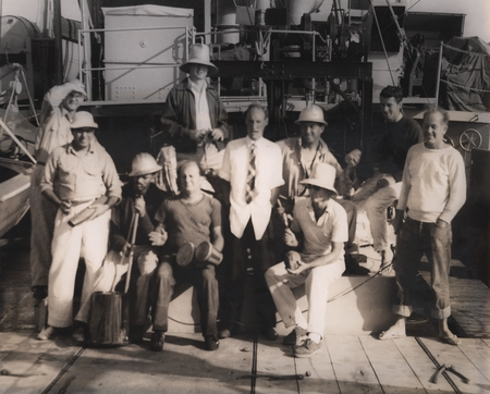 Downwind Expedition, 1958. [Back row, L to R: Robert M. Norris (shading eyes with hand), Robert H. Parker (in large hat. F...