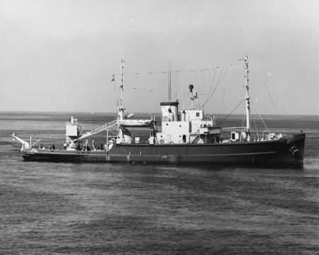 The research vessel Argo, 213-foot, 2,000 ton former Navy auxiliary rescue and salvage vessel that joined the oceanographi...