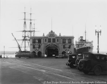Entrance to Broadway Pier with ocean liner Pennsylvania docked on right