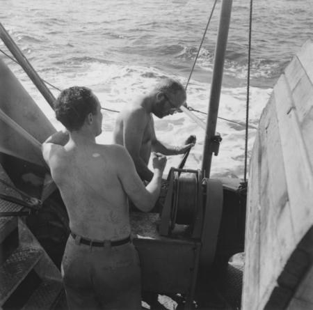 Norman J. Holter and Edwin L. (Edwin Lee) Hamilton on board the Scripps Institution of Oceanography research vessel, R/V H...