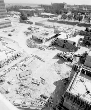 Aerial view of the construction at Muir and Revelle College on the campus of UCSD. March 1, 1971.