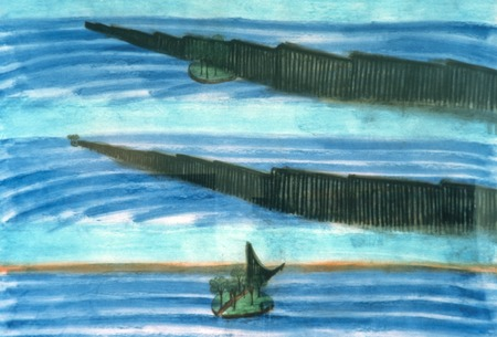 Island on the Fence: drawing: view of proposal model: floating island with border fence in background