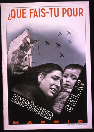 Hand-modified photographic image of a tearful mother and child in foreground with bombed-out building and war planes overhead in background.