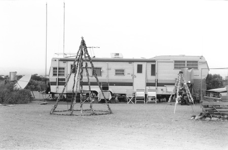 slab city photograph of camper and christmas decorations