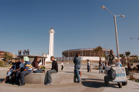 La esquina/ Jardines de Playas de Tijuana: view of plaza and platform with lighthouse and bullring