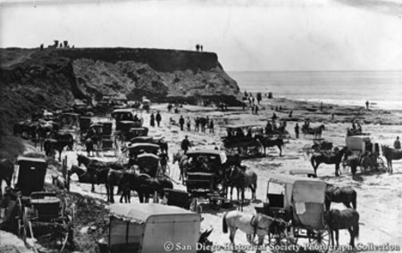 People and horse drawn carriages on beach below bluffs, Ocean Beach