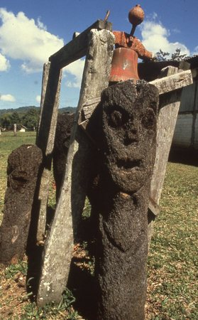 Carved tree fern statues with school bell