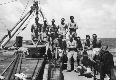 Fantail of R/V Horizon, MidPac Expedition, 1950: Back: James Marion Snodgrass, Arthur E. Maxwell, Jeffery Frautschy, Lew G...