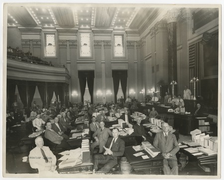 Senate chamber for California State Legislature. In front row: Senators Irwin Quinn, Edward H. Law and Ed Fletcher