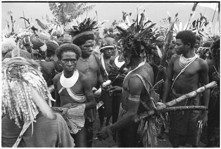 Pig festival, pig sacrifice, Tsembaga: in center, man displays shell valuables for trade, others in crowd also carry items...