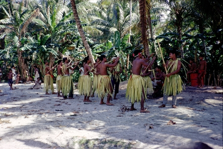 A Namonuito Dance in the Caroline Islands, Micronesia, during the Carmarsel Expedition