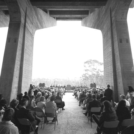 """UCSD Graduation Ceremony, View beneath arches of Central University Library, June 1971]"