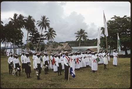 Christian Felowship Church members with flags and music