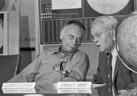 Sitting at the UCSD Moon Rock research press conference table; Albert E.J. Engle (left) UCSD Professor in the Earth Scienc...