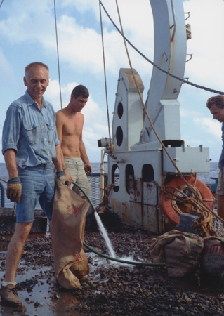 [Al Engel, left, with dredge haul on deck of R/V ARGO]
