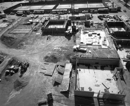 Aerial view of the construction at Muir and Revelle College on the campus of UCSD. October 28, 1970.