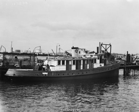 Docked California Fish and Game Commission patrol boat Bluefin