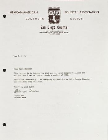 resignation letter herman baca chairman