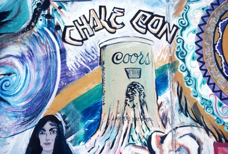 Chicano Park: Historical Mural: detail of Coors beer can