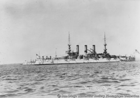 Great White Fleet battleship USS Vermont on San Diego Bay