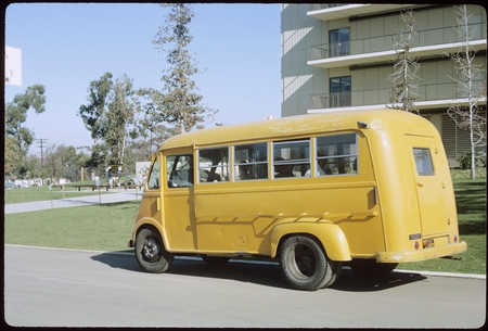 First and only UCSD school bus in front of Urey Hall