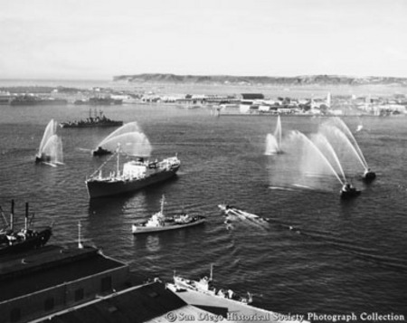 Fireboats welcome SS Silver Gate to San Diego harbor