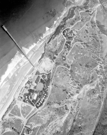 """Aerial (Vert), Scripps, August 1949"" [Aerial view of Scripps campus including seaweed canyon and residential area north o..."