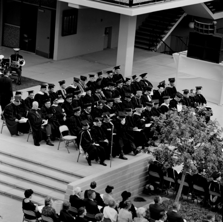 View of podium, at installation of John S. Galbraith as UCSD Chancellor, November 5, 1965.