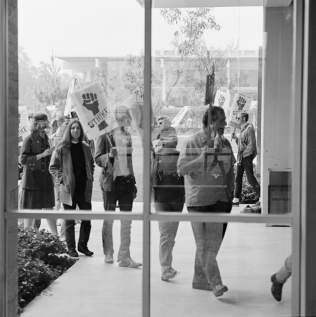 """Torraus, Police, Student Disturbance"" [Students with strike signs picketing outside Undergraduate Library, Revelle Colleg..."