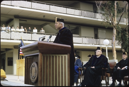 Chancellor John Galbraith speaks at his inauguration ceremony