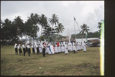 Christian Fellowship Church members with flags and music