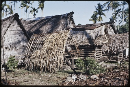 Tukwaukwa village on Kiriwina: yam house, houses, and partially thatched small structure