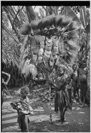 Bride price ritual: man holds large payment banner of feather and shell valuables, marsupial skins