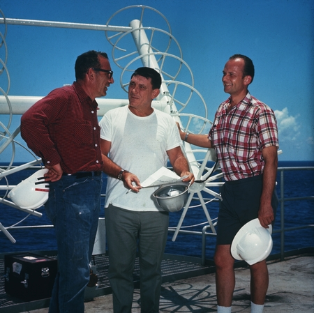 [William A. Nierenberg, Kenneth E. Brunot and Melvin N.A. Peterson on Glomar Challenger]