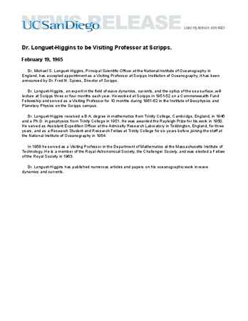 Dr  Longuet-Higgins to be Visiting Professor at Scripps  | Library