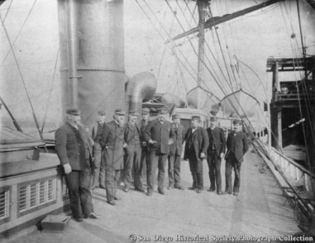 Captain and officers on deck of George W. Elder