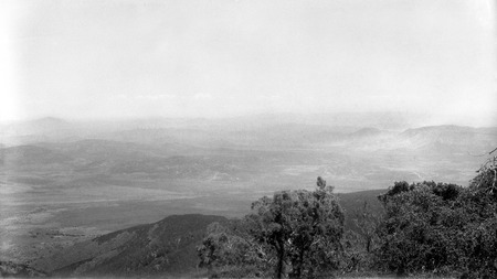 "South of San Vicente, from ""red-face"" on mountain on west side of San Vicente Valley, looking toward the Sierra San Pedro ..."