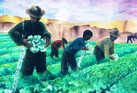 Chicano Park: Death of a Farmworker: detail of chained farmworkers picking lettuce