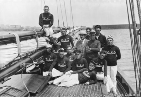 Crew posing on deck of John D. Spreckels's yacht Lurline