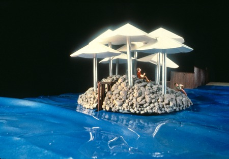 Island on the Fence: view of proposal model: floating island with border fence in background