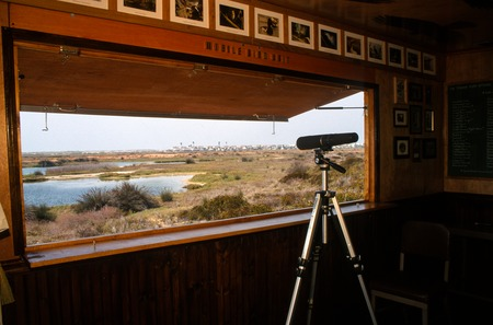 Blind/Hide: view from inside of Blind/Hide looking out to the Tijuana River Estuary Preserve
