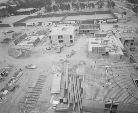 Aerial view of the construction at Muir and Revelle College on the campus of UCSD. February 3, 1971.