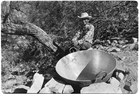 A brass cauldron used in making panocha by boiling down cane pressings at Rancho La Vinorama