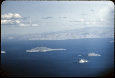 Aerial view of islands of the Gulf of California, looking south from sierra of Puertecitos